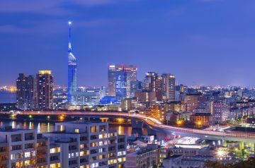 The night view of Fukuoka city in Japan